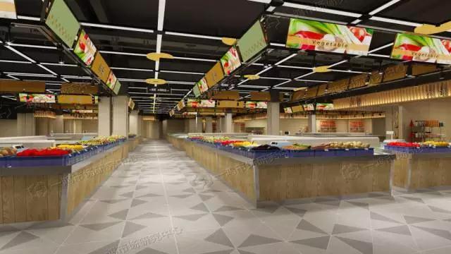农贸市场摊位设计以岛台形式陈列,吊楣采用青黄色块与品类彩图